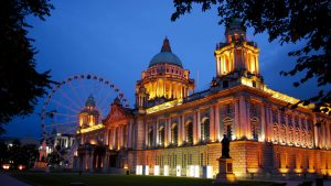 Belfast City Hall at dusk.