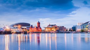 Cardiff Bay Cityscape. including the Pierhead building (1897) and National Assembly for Wales.